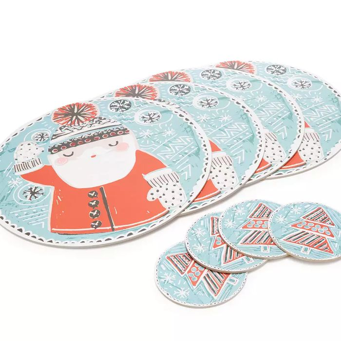 4 Multicoloured Santa Placemats and 4 Coasters - save £4.50