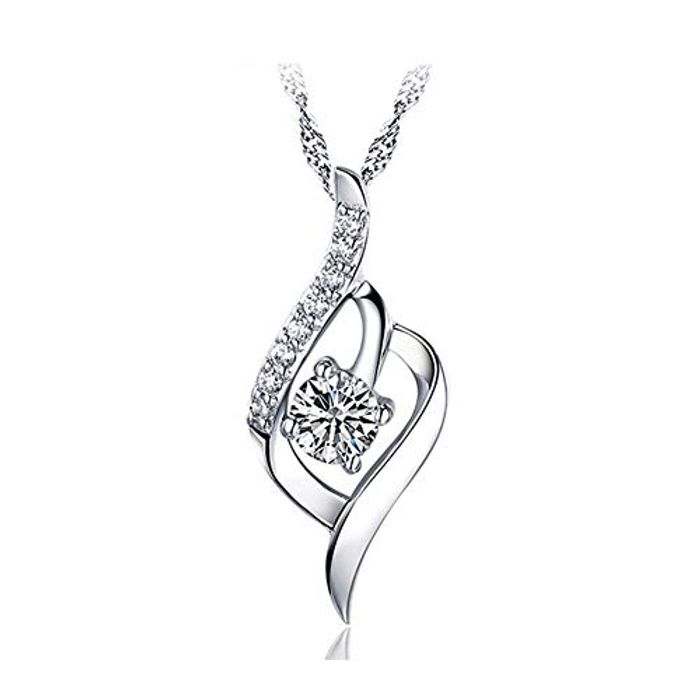 Women Necklace 925 Sterling Silver Statement Crystal Pendant