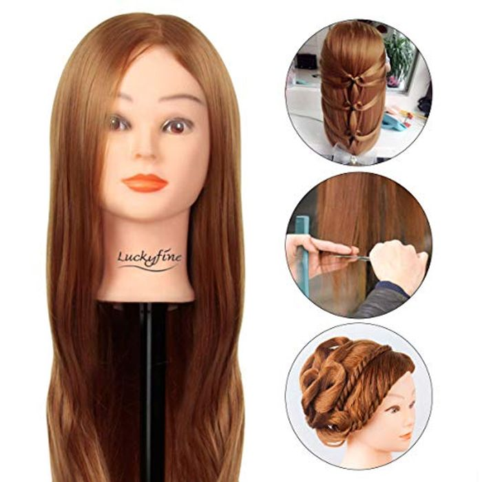 Hairdressers Training Head with 30% Real Human Hair