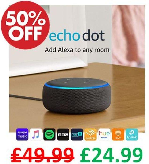 HALF PRICE! Echo Dot (3rd Gen) - Smart Speaker with Alexa - All Fabrics