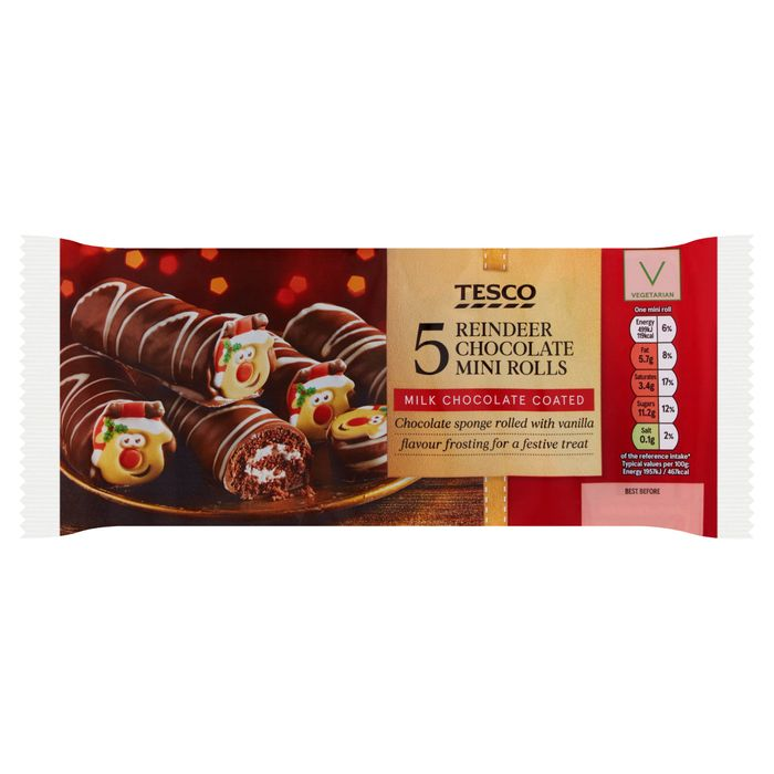Tesco 5 Reindeer Chocolate Mini Rolls 150 Latestdealscouk