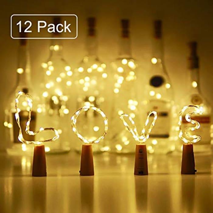 Deal Stack 12 Pack Cork Bottle Lights 10% Off + 50% Code - £6.39