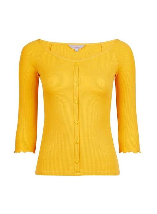 1/2 Price Petite Yellow Button through Jersey Top