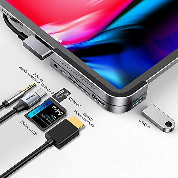 USB C Hub for iPad Pro 2018, Baseus 6 in 1 USB C to 4K HDMI Adapter