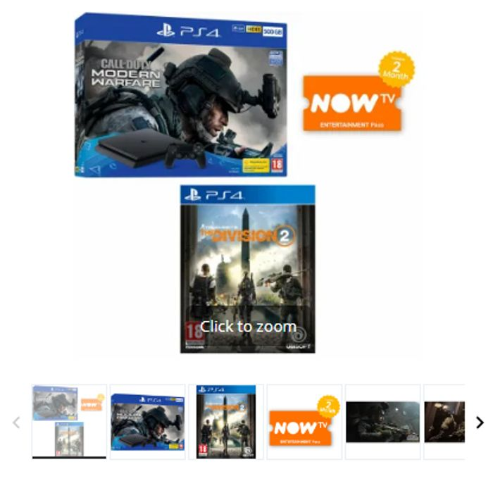 PS4 500GB Call of Duty: Modern Warfare Bundle+The Division 2+Now TV Only £199