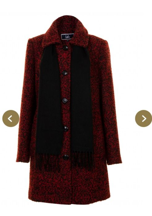 Tailored Boucle 2 Tone Coat with Herringbone Scarf