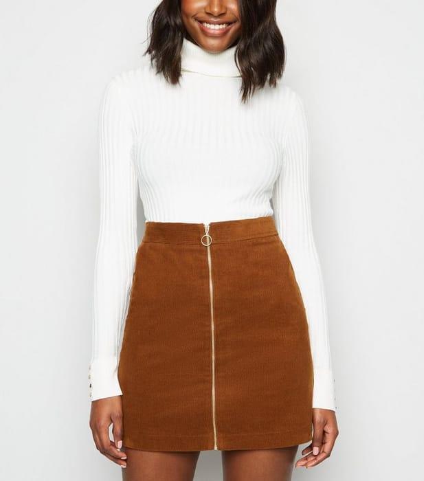 Rust Cord Zip Front Mini Skirt
