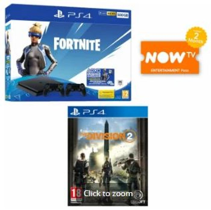 PS4 500GB Fortnite Bundle + Extra Controller + The Division 2 + Now TV