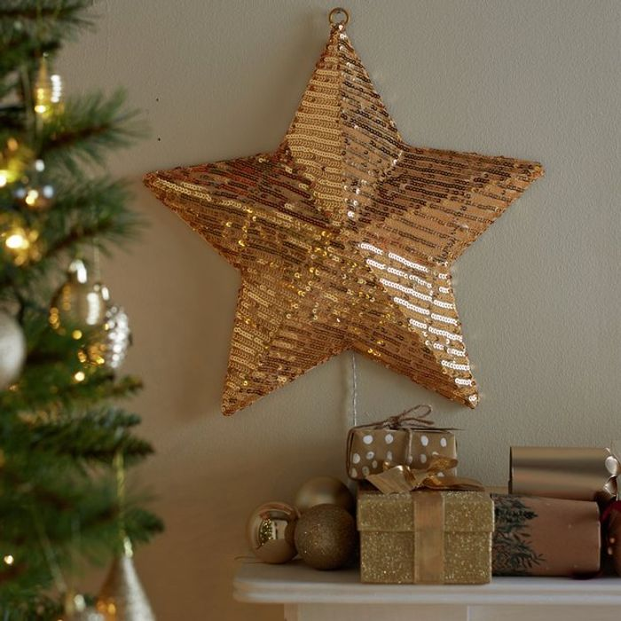 Argos Home Gold Sequin Wall Mounted Star Light921/0073