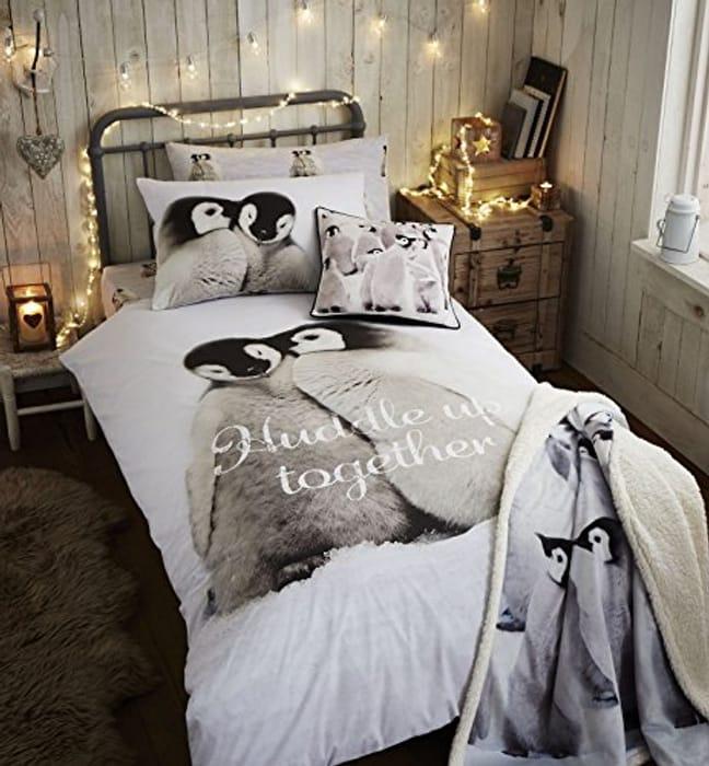 Penguin Brushed Cotton Single Duvet Set Multi