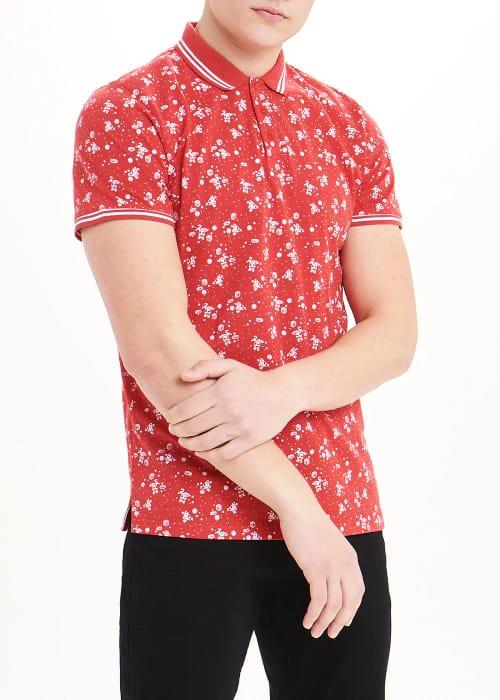 Short Sleeve Santa Print Christmas Polo Shirt