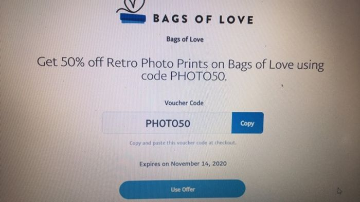 Get 50% off Retro Photo Prints on Bags of Love