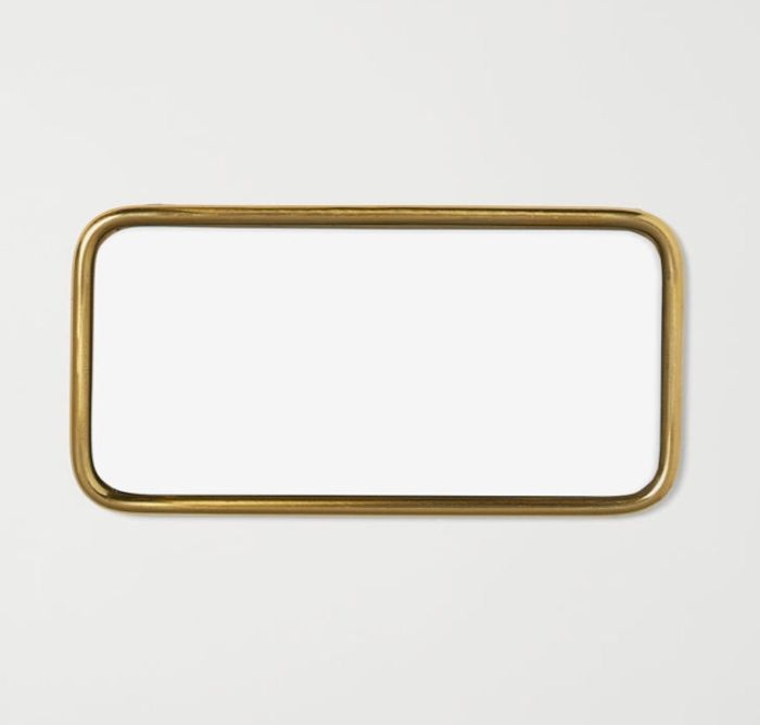 Small Metal Tray with Mirrored Glass.