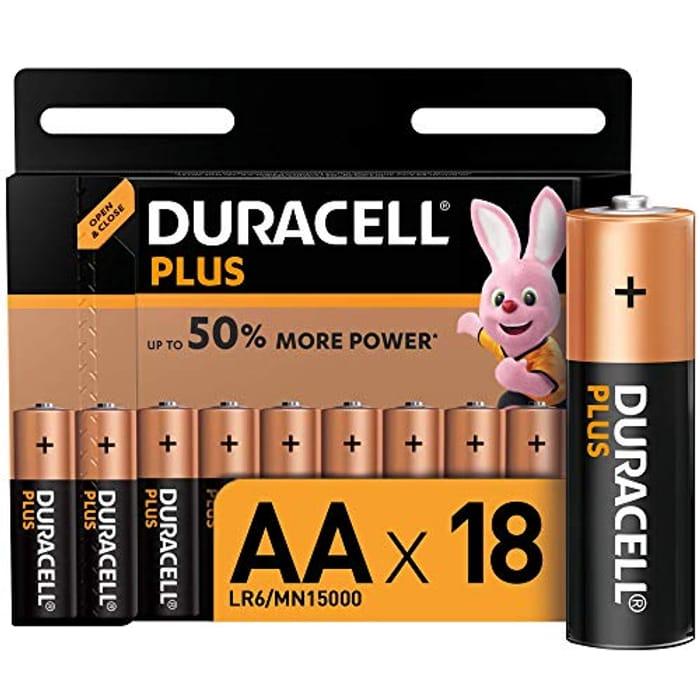 Duracell plus AA Alkaline Batteries, 1.5 v LR06 MX1500, Pack of 18