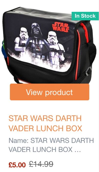 STAR WARS DARTH VADER LUNCH BOX Now £3 with Code