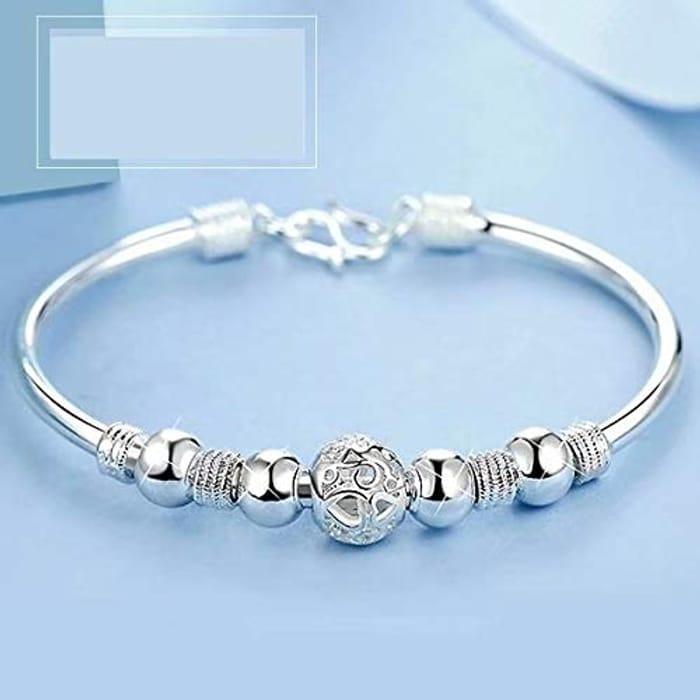 Jewelry Classic New Solid Silver Buckle Bracelet Women Men's 925 Jewelry