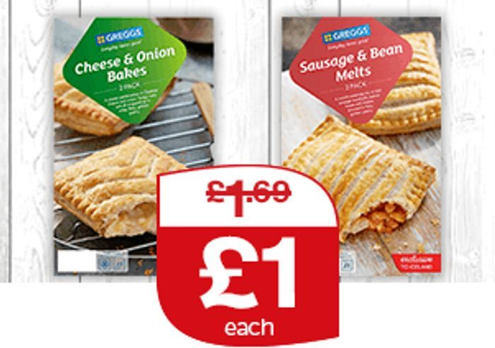 Greggs 2 Cheese & Onion Bakes / Sausage & Bean Melts - £1...From 2/01/2020!