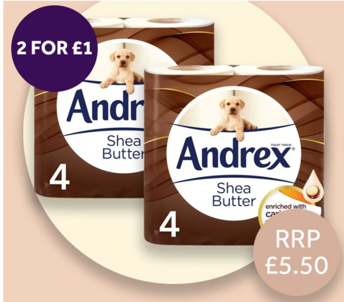 Andrex Toilet Roll Touch Of Care Shea Butter 4 Pack *2 for £1