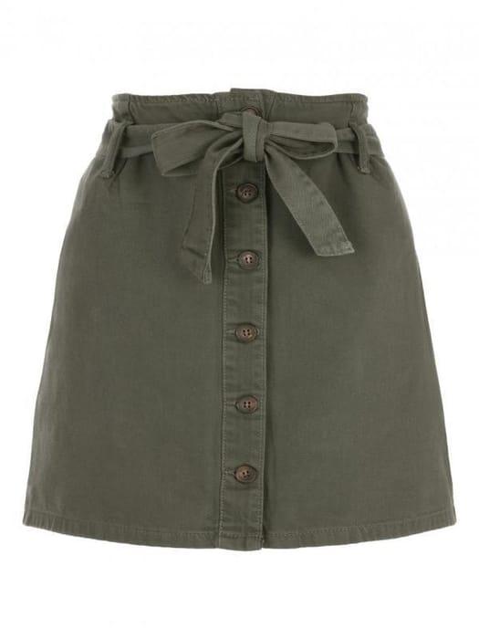 Womens Khaki Button through Denim Skirt
