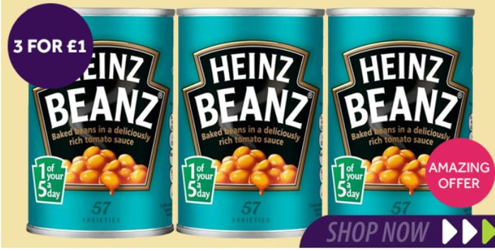 Heinz Baked Beans In Tomato Sauce *3 For £1