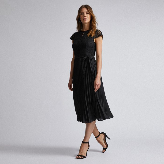 Dorothy Perkins - Black Lace Pleated Midi Dress