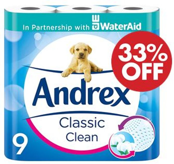 Andrex Classic Clean Toilet Tissue, 9 Rolls (Amazon Pantry)