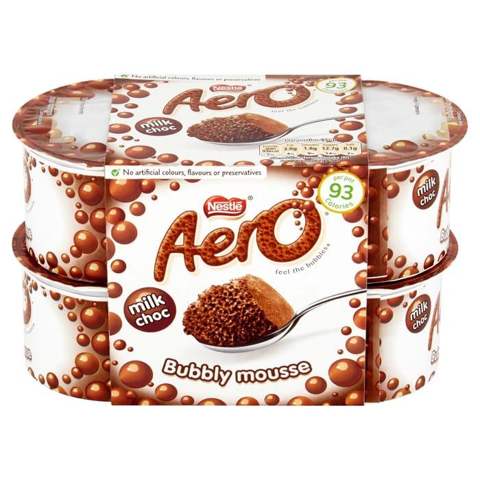 Cheap Aero Milk Choc Bubbly Mousse 4 X 59g (236g), Only £1!