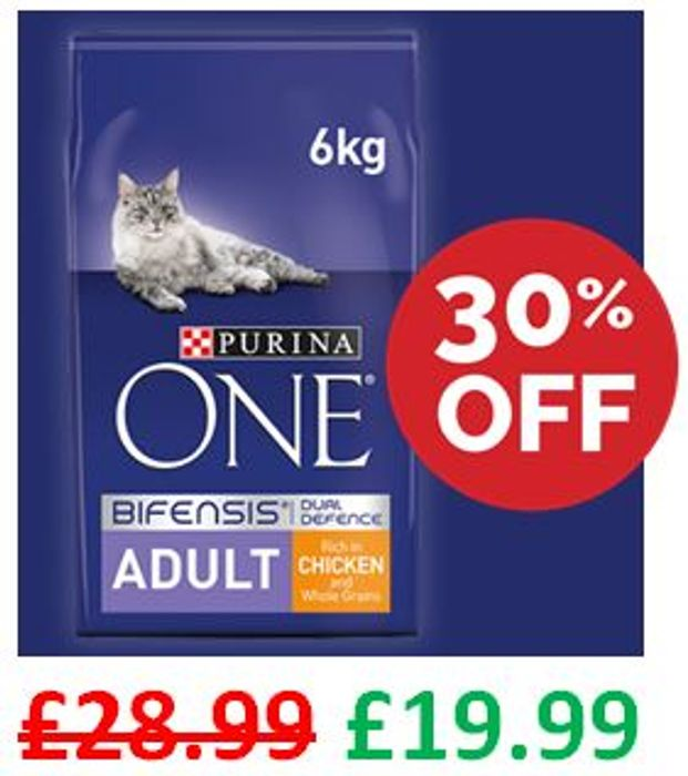 SAVE £9 - Purina ONE Adult Cat Food Chicken & Wholegrains, 6kg
