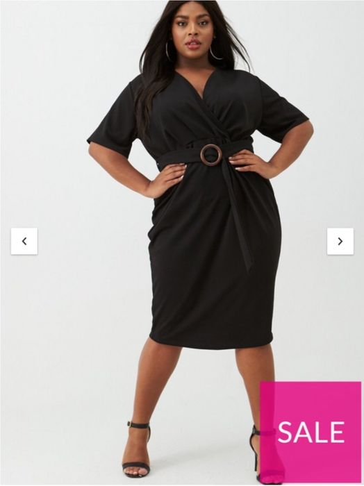 Cheap V by Very Curve Jersey Wrap Pencil Dress - Black, Only £16.75!
