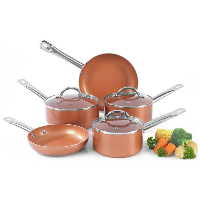 Cheap Salter 5 Piece Copper Ceramic Pan Set - Save £30.01!