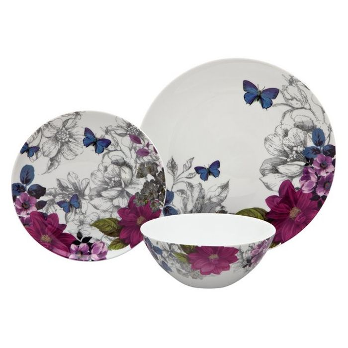 12 Piece Porcelain Tableware- Midnight Bloom - Only £26.25!