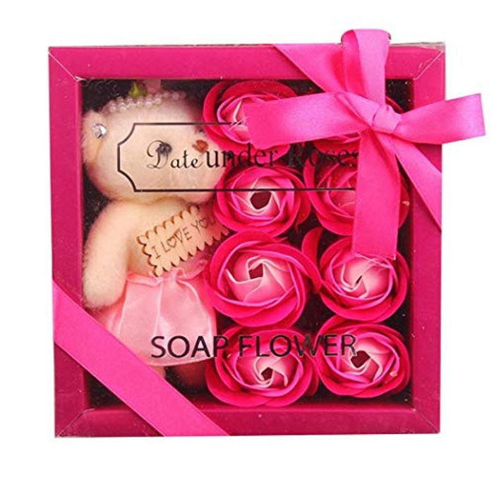 Cheap 8-Roses Bear Doll Soap Flower Gift Box Valentine's Day - Free Delivery