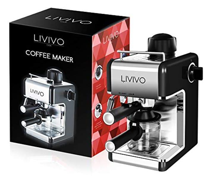 LIVIVO Espresso Cappuccino Coffee Maker Machine with Milk Frothing Arm