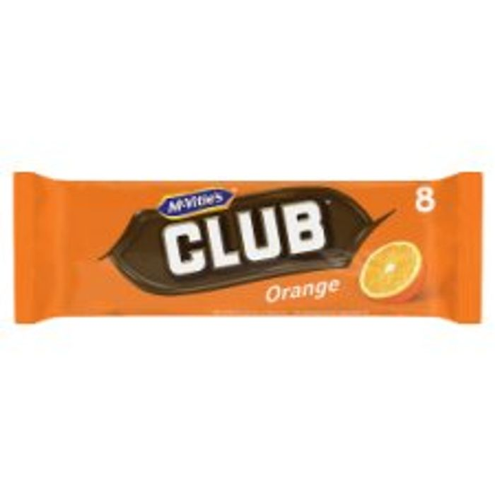 Mcvitie's Club Orange/Mint /Fruit Chocolate Biscuit 8 Pack