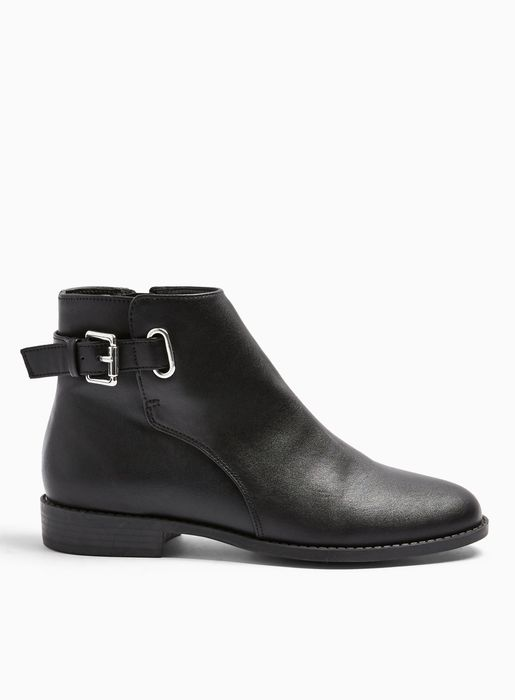 BLAIR Black Buckle Ankle Boots