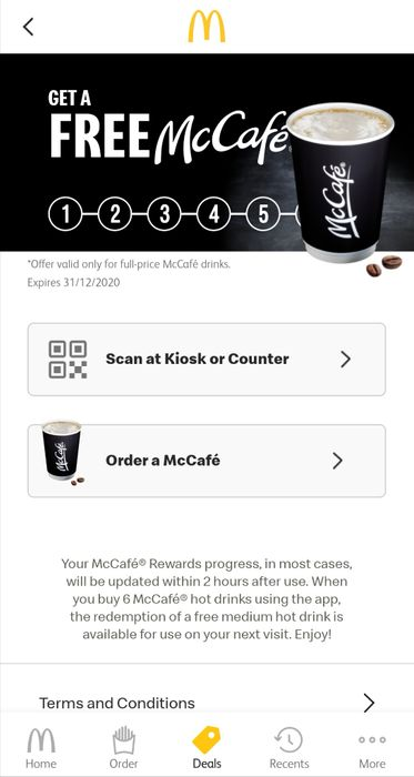 Get 6th McCafe for Free Using McDonalds App, It Used to Be 7th One Free