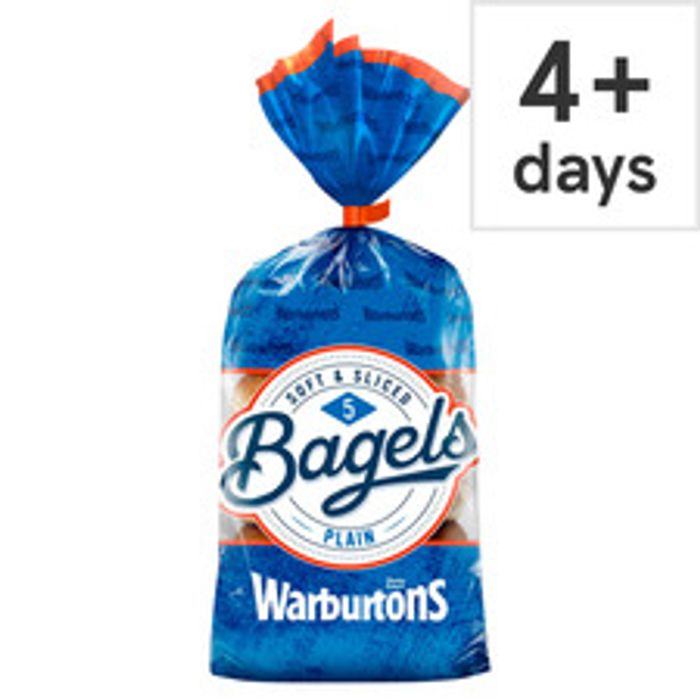 Warburtons 5 Pack Bagels Plain, Cinnamon & Raisin,Soft & Sliced Sesame