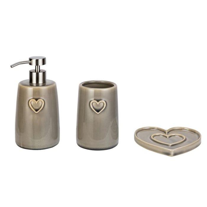 Argos Home Hearts Bathroom Accessory Set - Grey