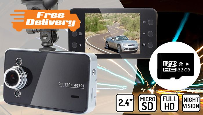 2.4in Full HD Car Dash Cam + Optional 32G SD Card - FREE Delivery!