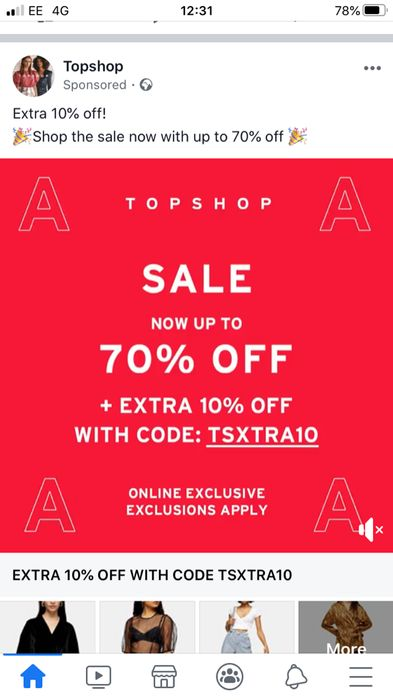 Get an Extra 10% off at Topshop