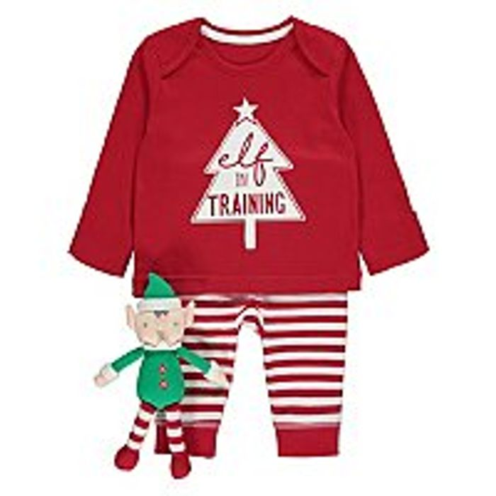 Elf in Training Red Pyjamas and Accessory