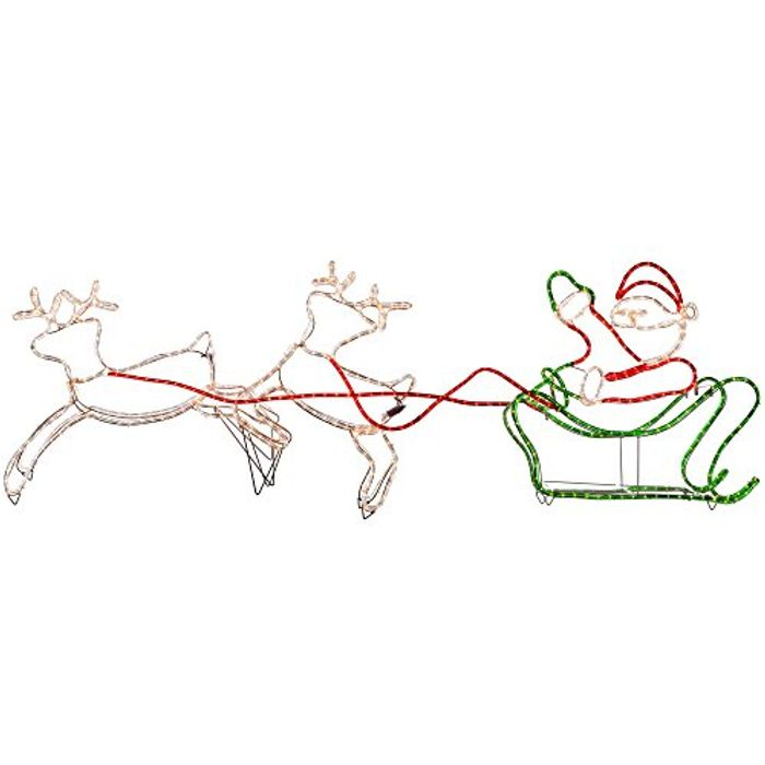 WeRChristmas Double Reindeer with Santa on Sleigh LED Rope Lights Silhouette