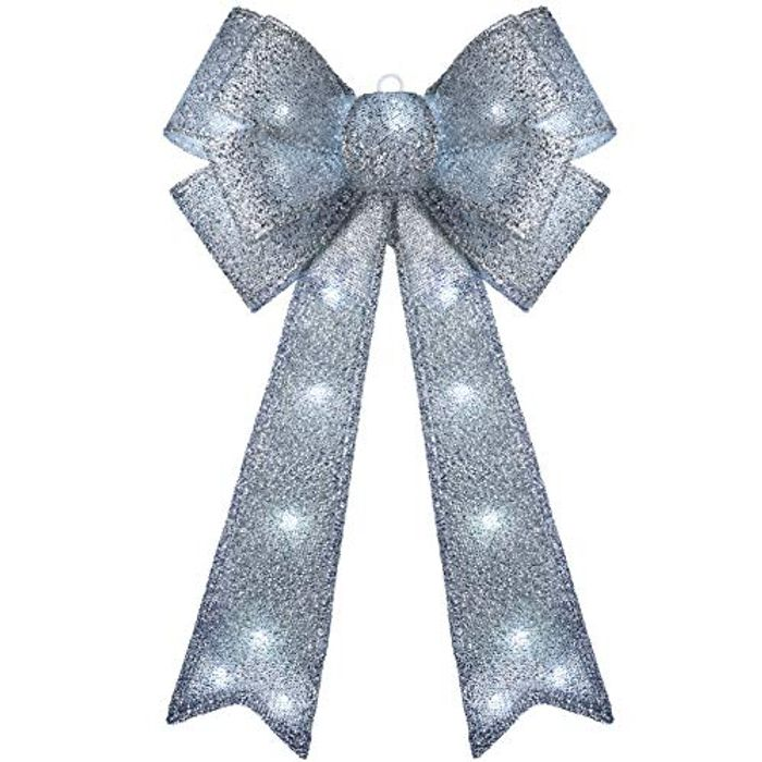 WeRChristmas Large Christmas Bow Decoration with 25 Chasing Warm LED Lights