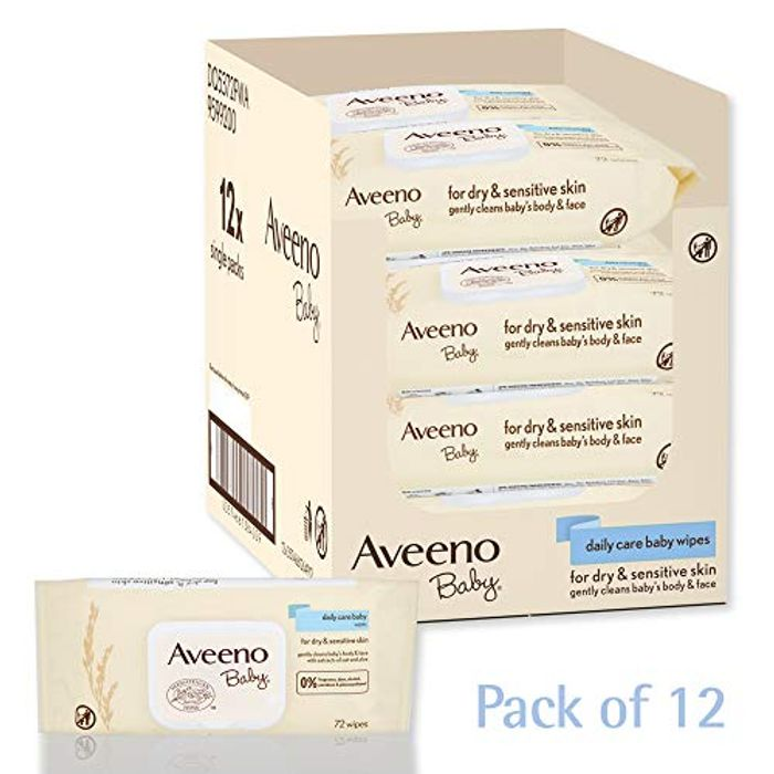AVEENO Baby Daily Care Wipes -save £11.41 - Pack of 12 (864 Wipes in Total)