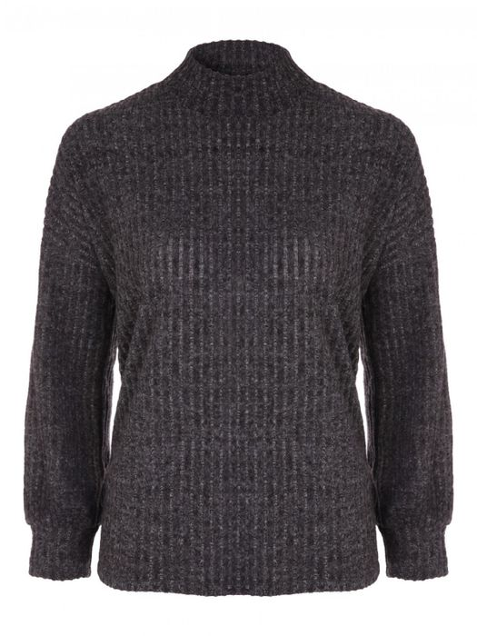 Womens Charcoal Marl Ribbed Turtle Neck Top