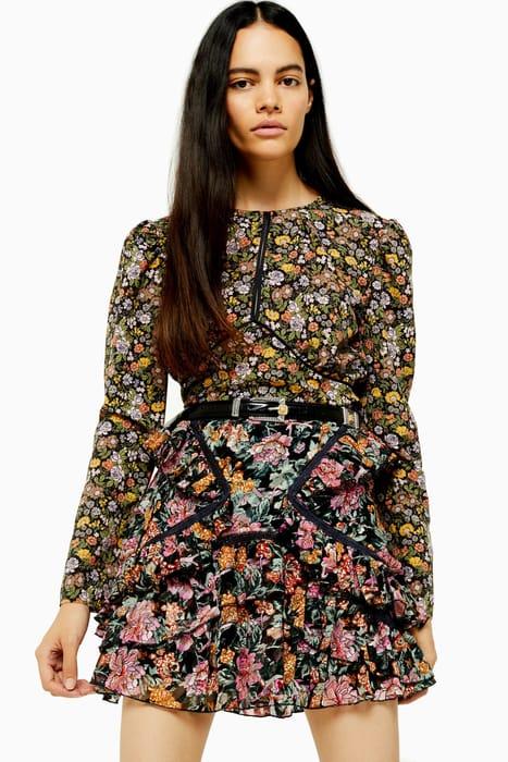 AUSTIN Floral Print Long Sleeve Tea Top