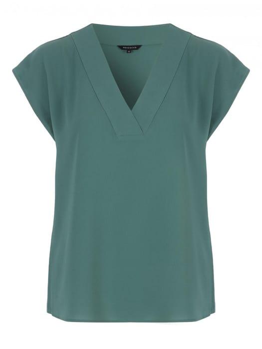 Womens Green V-Neck Top