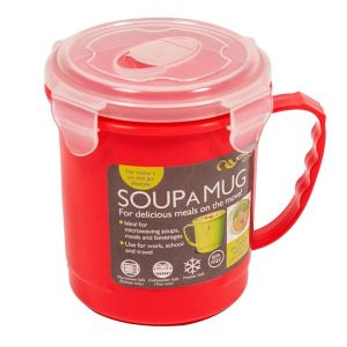 Creative Kitchen Soup a Mug Travel Cup for Work School Travelling BPA Free - Red