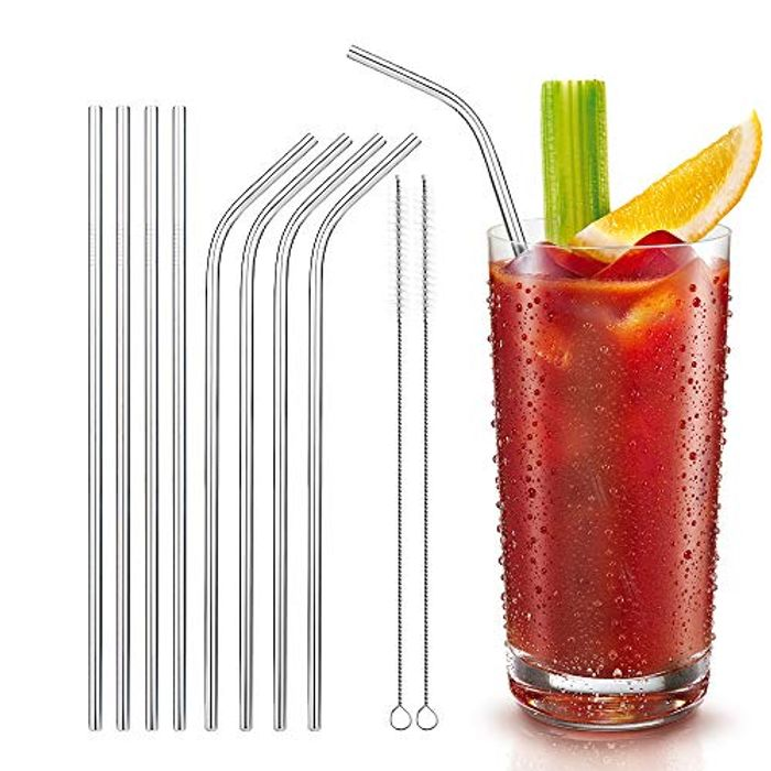 Best Price! 8 Stainless Steel Reusable Drinking Straws with Cleaning Brush