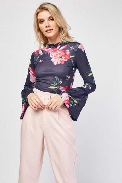 Floral Printed Bell Sleeve Blouse